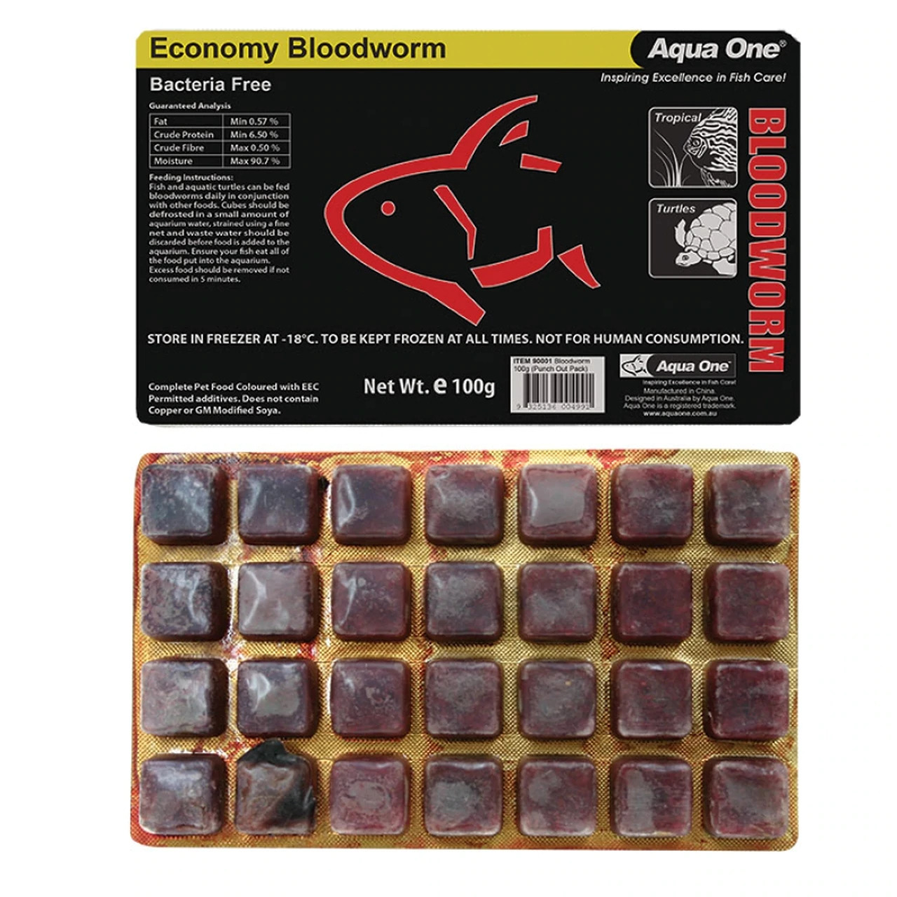 Aqua One Frozen Bloodworm in Blister Pack 100g
